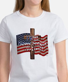 I Will Never Forget 9-11-01 American Flag Cross T-