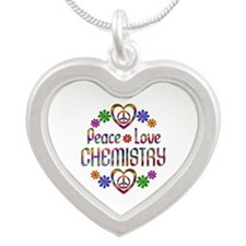 Peace Love Chemistry Silver Heart Necklace