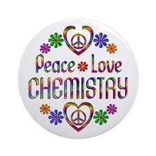 Peace Love Chemistry Ornament (Round)