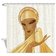 Serenity, Peace, Love Art Deco Shower Curtain