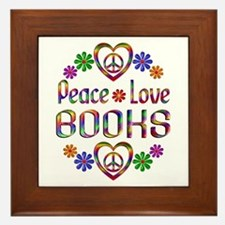 Peace Love Books Framed Tile