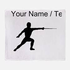 Custom Fencer Silhouette Throw Blanket