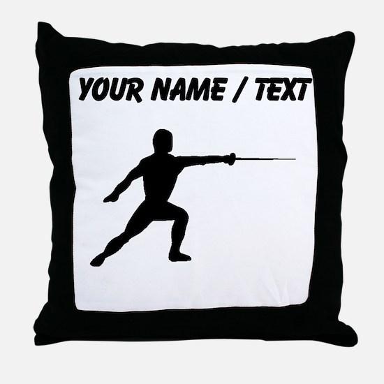 Custom Fencer Silhouette Throw Pillow