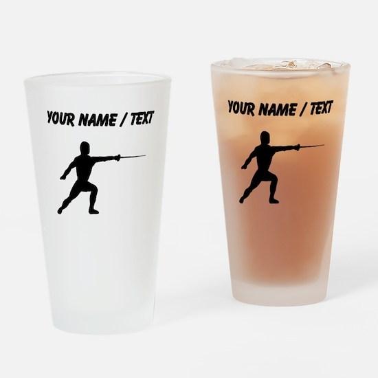 Custom Fencer Silhouette Drinking Glass