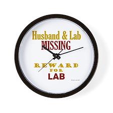 Husband & Lab Missing Wall Clock