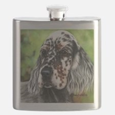 English Setter pup by Dawn Secord Flask