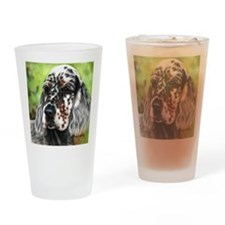English Setter pup by Dawn Secord Drinking Glass