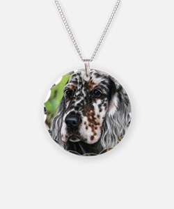 English Setter pup by Dawn Secord Necklace