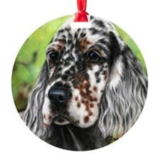English Setter pup by Dawn Secord Ornament