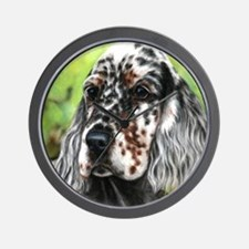 English Setter pup by Dawn Secord Wall Clock