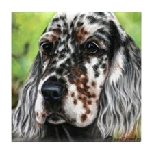 English Setter pup by Dawn Secord Tile Coaster