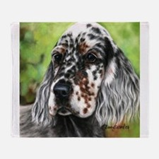 English Setter pup by Dawn Secord Throw Blanket