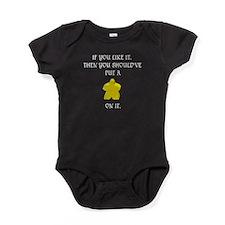 Meeple mash up (WT lettering, dark b Baby Bodysuit