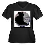 Flight Silhouette Women's Plus Size V-Neck Dark T-