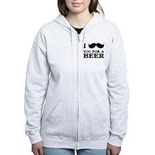 I mustache you for a beer Zip Hoodie