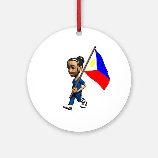 Philippines Girl Ornament (Round)