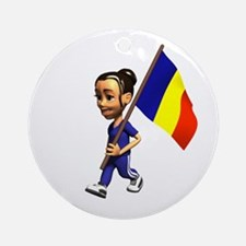 Romania Girl Ornament (Round)