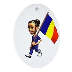 Romania Girl Oval Ornament