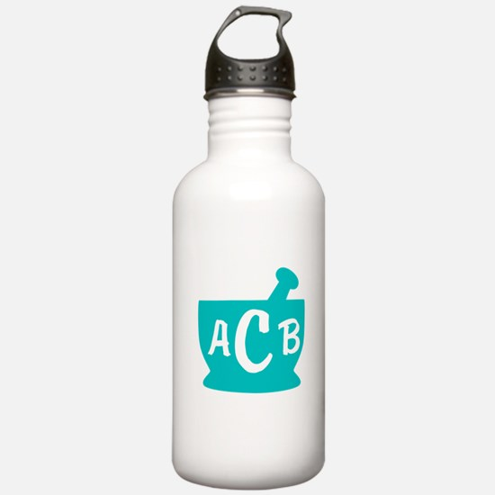 Teal Monogram Mortar a Water Bottle