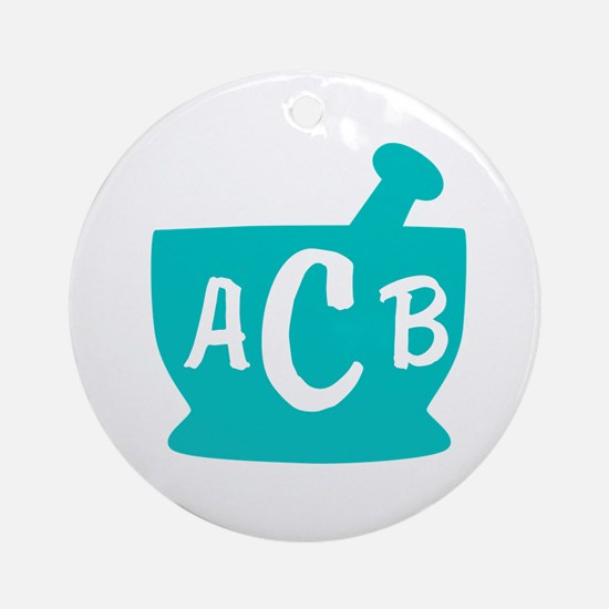 Teal Monogram Mortar and Pestle Ornament (Round)