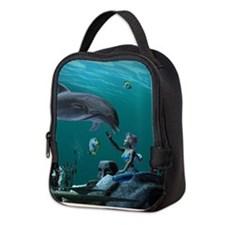 Dolphin playing Neoprene Lunch Bag