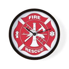 Firefighter Red Maltese Cross - Wall Clock