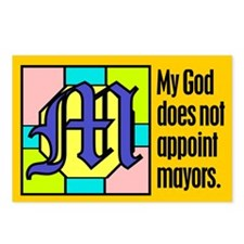 Postcards (Pack of 8). God doesn't appoint mayors