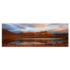 Panoramic Of Sunrise Over Mount Adney Reflected In Poster