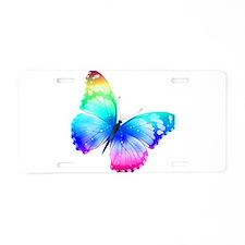 Rainbow Butterfly Aluminum License Plate