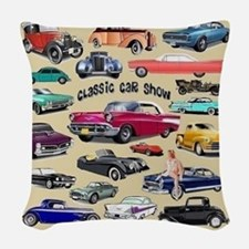 Car Show Woven Throw Pillow