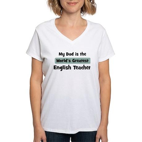Worlds Greatest English Teach Women's V-Neck T-Shi