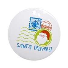 Santa Delivers! Ornament (Round)