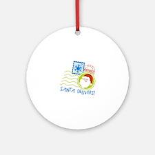 Santa Delivers! Ornament (Round)