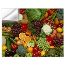 Produce, Spread of mixed fruits and vegetables Wall Decal