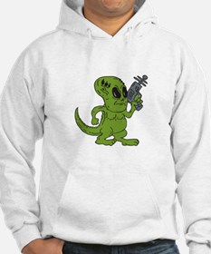 Alien Dinosaur Holding Ray Gun Cartoon Hoodie