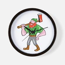 Paul Bunyan LumberJack Isolated Cartoon Wall Clock