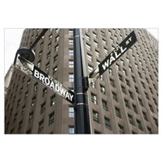 Signs For Broadway And Wall Street Framed Print