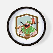 Paul Bunyan LumberJack Shield Cartoon Wall Clock