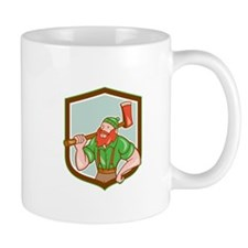 Paul Bunyan LumberJack Shield Cartoon Mugs
