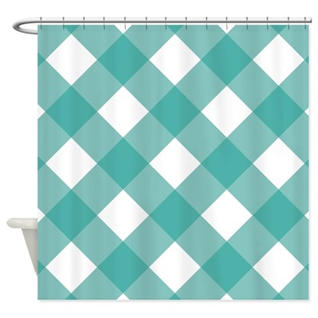 Gingham Checked Teal White Shower Curtain By