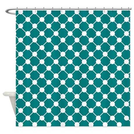 Teal And White Trellis Polka Dots Shower Curtain By Admin Cp62117368