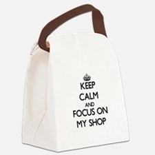 Keep Calm and focus on My Shop Canvas Lunch Bag