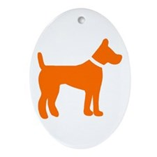 dog orange 1C Ornament (Oval)