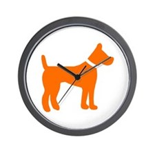 dog orange 1C Wall Clock