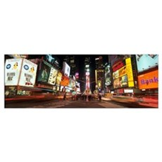 Times Square In Midtown Manhattan Illuminated At N Framed Print