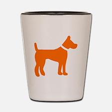 dog orange 3 Shot Glass