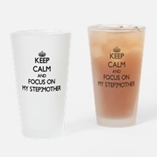 Keep Calm and focus on My Step-Moth Drinking Glass