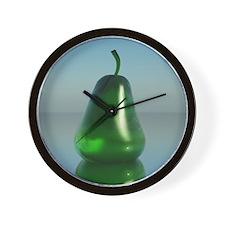 Green Glass Pear Wall Clock