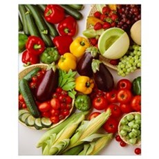 Arrangement of fruits and vegetables Framed Print