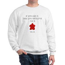 Meeple mash up (BLK lettering, light bk Sweatshirt